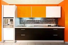 Grande arancio della cucina Immagini Stock Libere da Diritti