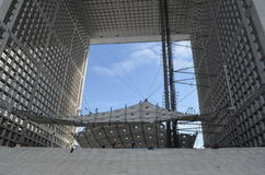 GRANDE ARCHE DE LA DÉFENSE. GRANDE ARCHE DE LA DÉFENSE against the sky Royalty Free Stock Photo