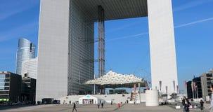 Grande Arche de la defensa del La de Timelapse París almacen de video