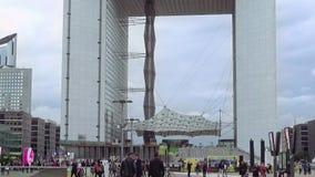Grande Arche de la Defense in Paris, France. Paris, France - October, 15, 2016: Grande Arche de la Defense the huge monument in the business district of Paris stock footage