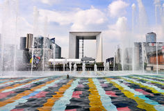 Grande Arche framed by Fountains Stock Images