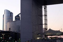 Grande arche La defense in Paris business district at sunset france. La Défense is Europe`s largest purpose-built business district, part of the Paris stock images