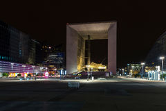Grande Arche at night Royalty Free Stock Images