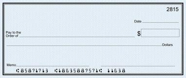 Grande assegno di banca con i numeri falsi fotografia stock libera da diritti