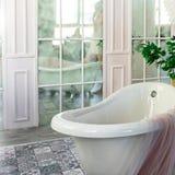 Grande baignoire libre mate blanche image stock