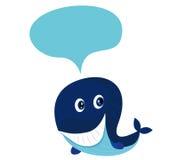 Grande baleine bleue de dessin animé d'isolement sur le blanc Images stock