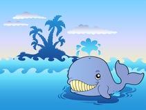 Grande baleine de dessin animé en mer Images libres de droits