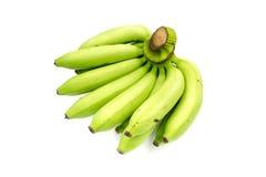 Grande banana verde fresca isolata su fondo bianco Fotografia Stock