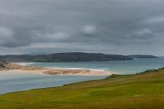 Grande banco di sabbia alla bocca del fiume di Naver, Scozia del Nord Immagini Stock Libere da Diritti