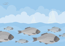 Grande bande de poissons sous l'eau Image libre de droits