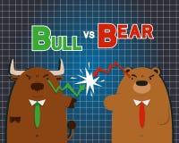 Grande bande dessinée mignonne d'ours de taureau contre sur le marché boursier Photos stock