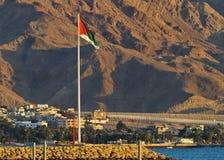 A grande bandeira árabe da revolta, Aqaba, Jordão imagens de stock
