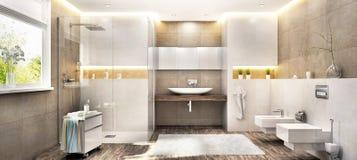 Grande banheiro moderno com uma janela ilustração royalty free