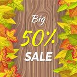Grande bannière d'automne de vente de 50 pour cent d'isolement sur en bois illustration stock