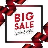 Grande bannière d'offre spéciale de vente avec le ruban rouge de couleur de gradient sur le fond blanc avec votre texte Illustrat illustration stock