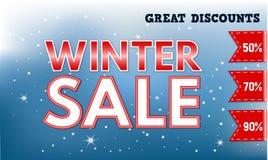 Grande bannière de concept de vente d'hiver, style réaliste illustration stock