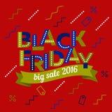 Grande bannière 2016 de vente Calibre de conception d'inscription de vente de Black Friday Rubans colorés par vecteur Photo stock