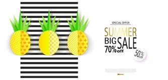 Grande bannière de vente d'été avec les ananas de papier doux sur le fond rayé Illustration de vecteur Photos libres de droits