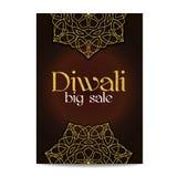 Grande bannière de vente de Diwali Festival des lumières indien Images libres de droits