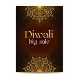 Grande bannière de vente de Diwali Festival des lumières indien Photographie stock