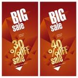 Grande bannière de vente 30 et 40 pour cent outre de fond de rouge d'or Photo libre de droits