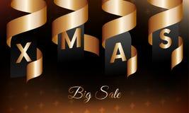 Grande bannière de vente de Noël avec des rubans d'or Illustration de vecteur Image stock
