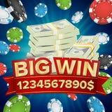 Grande bannière de victoire Fond pour le casino en ligne, club de jeu, tisonnier, panneau d'affichage Tisonnier Chips Jackpot Ill illustration de vecteur