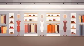 Grande bannière intérieure femelle de centre commercial de vêtements du marché superbe de boutique de mode avec l'espace de copie illustration de vecteur
