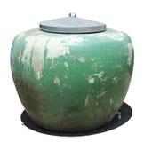 Grande barattolo verde con il cpver della cima del metallo Immagine Stock