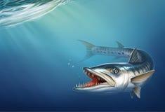 Grande barracuda no oceano sob o lugar realístico da ilustração da água para o texto ilustração do vetor