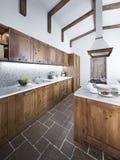 Grande bella cucina in uno stile rustico Fotografia Stock Libera da Diritti