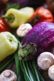 Grande belle aubergine et d'autres légumes en plan rapproché extrême couvert par des baisses de l'eau images stock