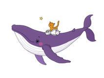 Grande belle baleine rose et petit chaton trois gris mignon illustration libre de droits
