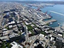 grande belle vue du bâtiment de Smith Tower, 38 histoire 149 m b grand Images libres de droits