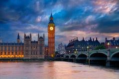 Grande Ben Clock Tower London al Tamigi Fotografia Stock Libera da Diritti