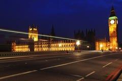 Grande Ben e la Camera del Parlamento alla notte Fotografie Stock