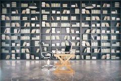 Grande bibliothèque privée avec la table vitreuse et le plancher en béton, 3D Ren Image stock