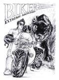 Grande bici e pantera o progettazione nera del disegno del colpo della matita della tigre Fotografia Stock