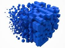 Grande blocco di dati cubico fatto con i più piccoli cubi blu illustrazione di vettore di stile del pixel 3d illustrazione vettoriale