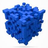 Grande blocco di dati cubico fatto con i più piccoli cubi blu illustrazione di vettore di stile del pixel 3d royalty illustrazione gratis