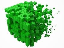 Grande blocco di dati cubico fatto con i più piccoli cubi verdi illustrazione di vettore di stile del pixel 3d illustrazione di stock