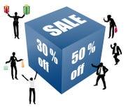 Grande boîte de vente avec des peuples illustration libre de droits