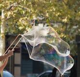 Grande bolla iridescente con i pali e la corda di bambù Fotografie Stock Libere da Diritti