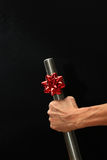 Grande Bolt con l'arco di Natale Fotografia Stock