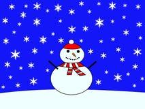 Grande boneco de neve com neve de queda Fotos de Stock Royalty Free