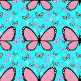 Grande borboleta cor-de-rosa cercada por borboletas coloridos pequenas ilustração stock