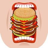 Grande bouche d'hamburger Faim forte Grand hamburger et bouche ouverte illustration stock