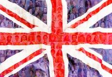 Grande Brittan bandiera del Regno Unito con i ritratti immagini stock
