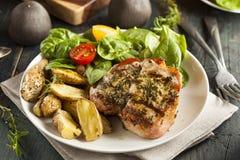 Grande côtelette de porc grillée Image libre de droits