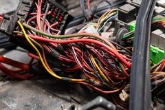 Grande cabo largo com fios coloridos e os conectores e terminais na oficina de repara??es prendendo e os eletricistas vermelhos e foto de stock